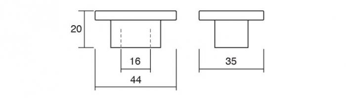 Buton pentru mobila Square, finisaj crom mat [1]