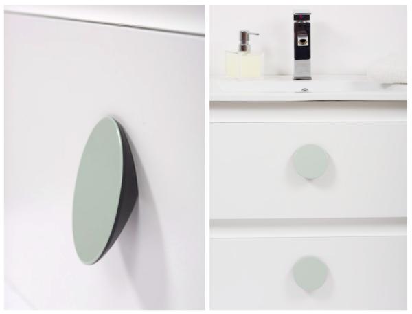 Buton pentru mobila Topo, finisaj gri/verde, D:80 mm [3]