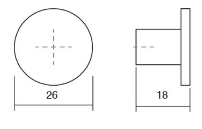 Buton pentru mobilier Como, cupru periat, D: 26 mm 1