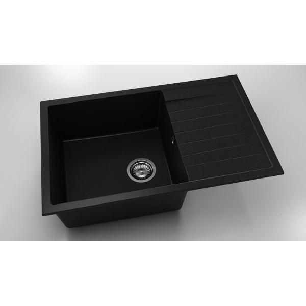 Chiuveta cu blat dreapta/stanga negru metalic 80 cm/49 cm (228) 0