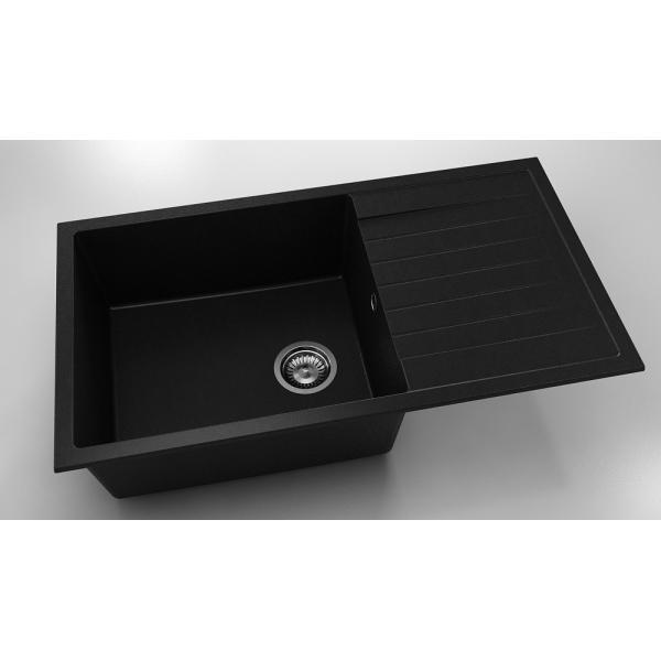 Chiuveta cu blat dreapta/stanga negru metalic 90 cm/49 cm (229) 0