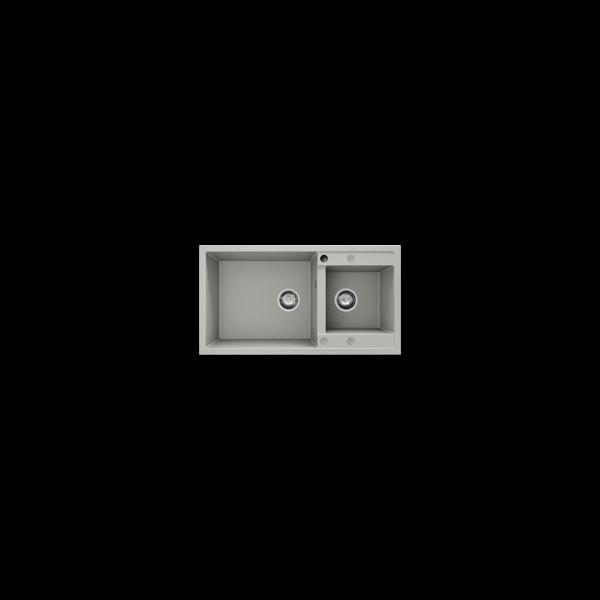 Chiuveta cu doua cuve gri deschis 90 cm/49 cm (234) 1