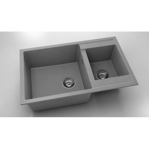 Chiuveta cu doua cuve gri metalic 80 cm/49 cm (233) 0