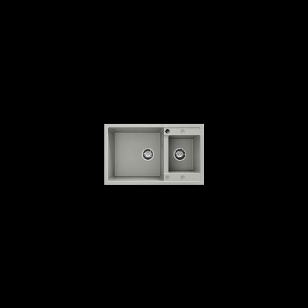 Chiuveta cu doua cuve gri metalic 80 cm/49 cm (233) 1