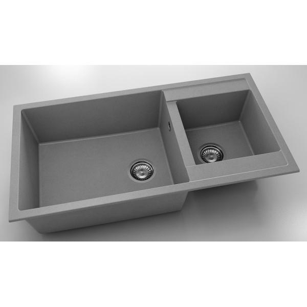 Chiuveta cu doua cuve gri metalic 95 cm/49 cm (235) [0]