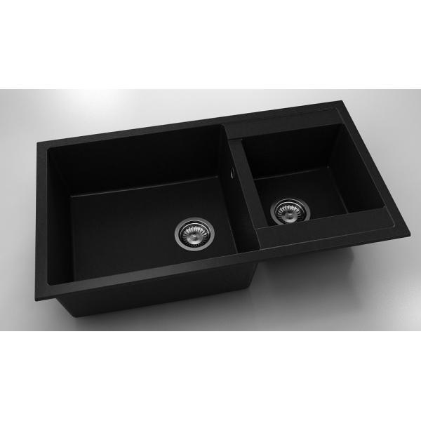 Chiuveta cu doua cuve negru metalic 90 cm/49 cm (234) 0