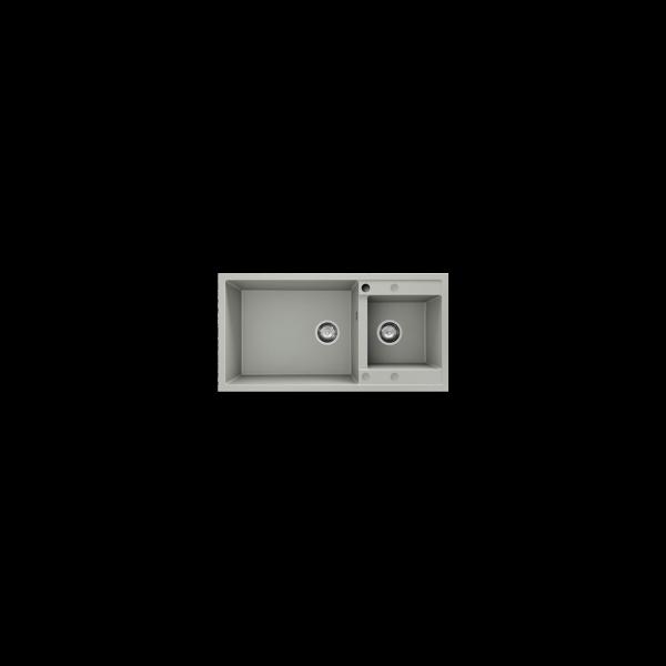 Chiuveta cu doua cuve negru metalic 95 cm/49 cm (235) 1