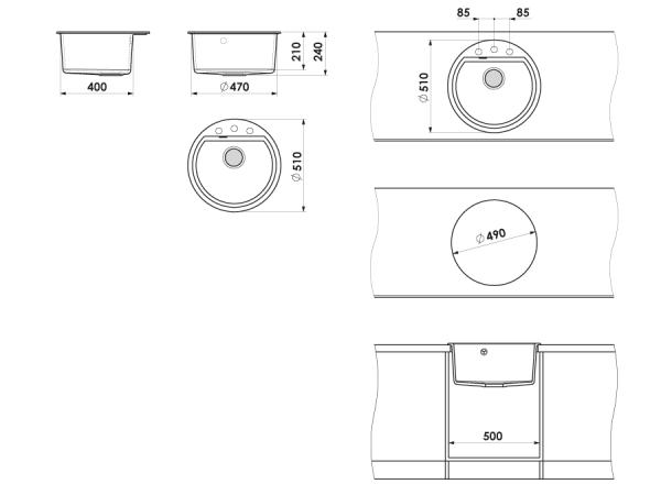 Chiuveta rotunda negru metalic Ø 51 cm (223) 1
