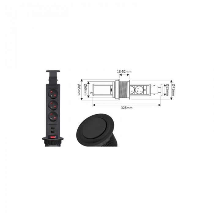 Coloana 3 prize Schuko si doua USB incorporabila in blat Lift Box, finisaj negru [1]