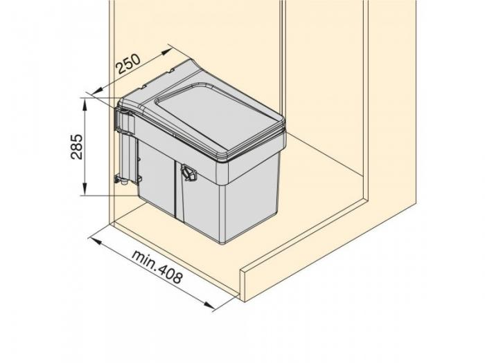 Cos de gunoi 15 l, incorporabil cu capac automat, gri antracit 4