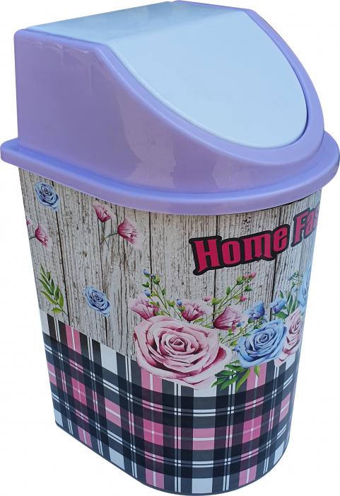 Cos de gunoi 5,5 litri, cu capac batant, cu imprimeu trandafiri 0