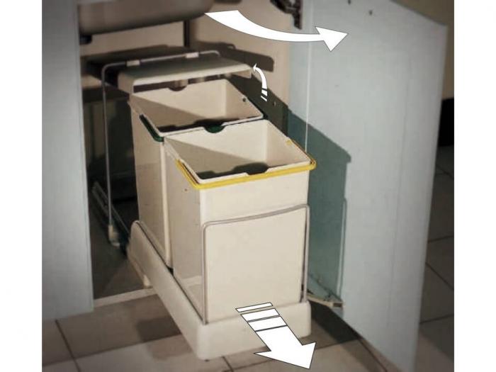 Cos de gunoi CR Eliot cu doua recipiente x 14 L pentru corp de 400 mm latime 1