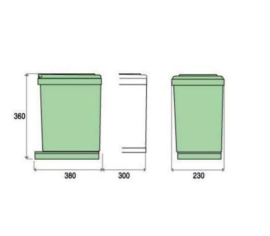 Cos de gunoi CR Davis cu un recipient 16 L pentru corp de 300 mm latime [2]
