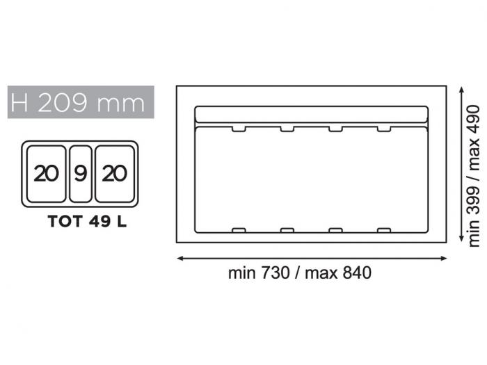 Cos de gunoi gri orion incorporabil in sertar, colectare selectiva, cu 3 recipiente, pentru corp de 900 mm latime 1