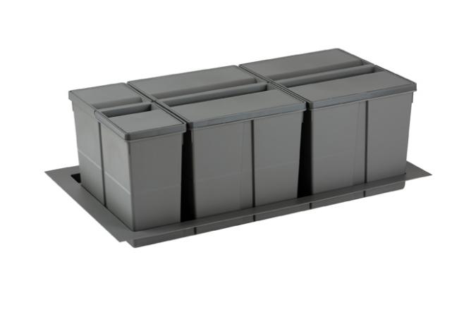 Cos de gunoi gri orion incorporabil in sertar, colectare selectiva, cu 3 recipiente, pentru corp de 900 mm latime 0