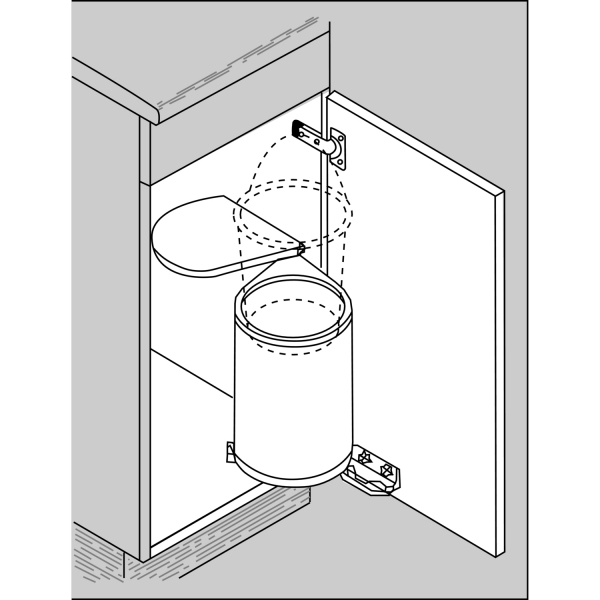 Cos de gunoi incorporabil, calitate germana, din otel lacuit argintiu, vol. 13 l 1