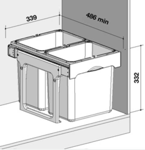 Cos de gunoi incorporabil, colectare selectiva, Ekko Easy cu 2 compartimente x 16 litri [1]