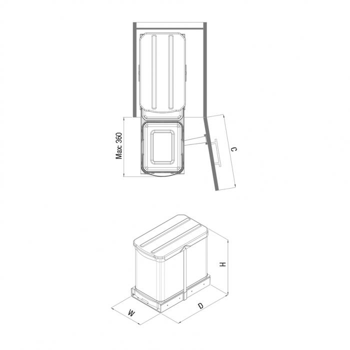 Cos de gunoi incorporabil din otel inoxidabil S2395, colectare selectiva, cu extragere automata, 16+1 litri 2