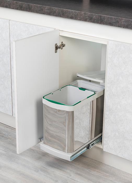 Cos de gunoi incorporabil din otel inoxidabil S2395, colectare selectiva, cu extragere automata, 16+1 litri 0