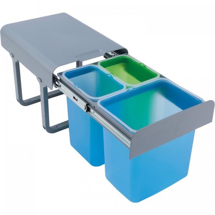 Cos de gunoi incorporabil Ekko, colectare selectiva, cu 1 compartiment x 16 litri si 2 x 8 litri 0