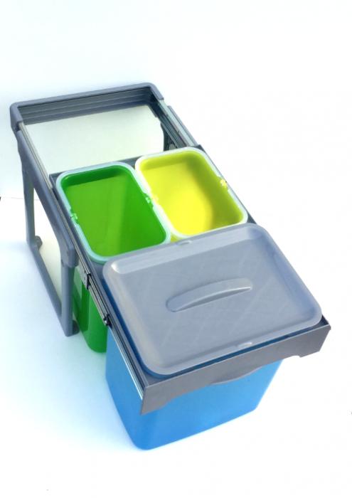 Cos de gunoi incorporabil, colectare selectiva, Ekko Easy cu 1 compartiment x 16 litri si 2x8 litri 0