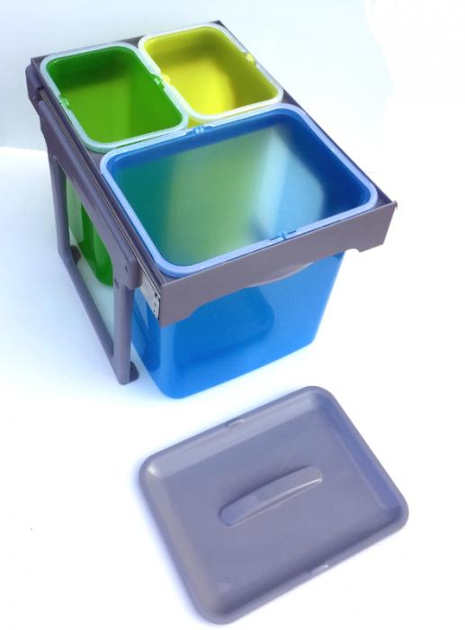Cos de gunoi incorporabil, colectare selectiva, Ekko Easy cu 1 compartiment x 16 litri si 2x8 litri 1