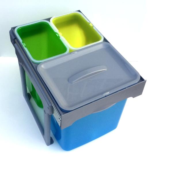 Cos de gunoi incorporabil, colectare selectiva, Ekko Easy cu 1 compartiment x 16 litri si 2x8 litri 2