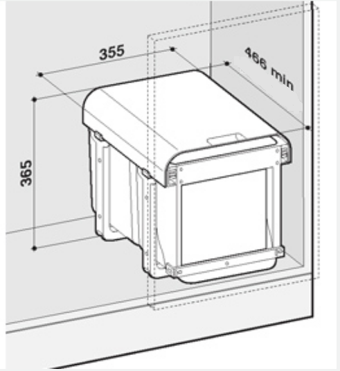 Cos de gunoi incorporabil Ekko Front cu 1 compartiment x 34 litri 2
