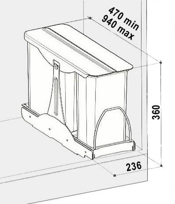 Cos de gunoi incorporabil in corp Patty, colectare selectiva, cu 2 recipiente 1 x 16 litri si 1 x 8 litri 1