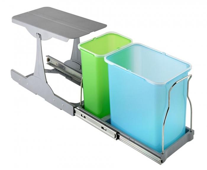 Cos de gunoi incorporabil in corp Patty, colectare selectiva, cu 2 recipiente 1 x 16 litri si 1 x 8 litri 0