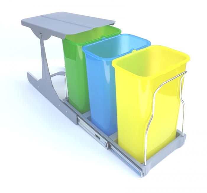 Cos de gunoi incorporabil in corp,Patty colectare selectiva cu 3 recipiente x 8 litri [1]
