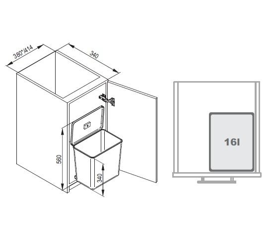 Cos de gunoi Sesamo incorporabil in dulap, cu 1 compartiment x 16 L, pentru corp de 450 mm latime 2