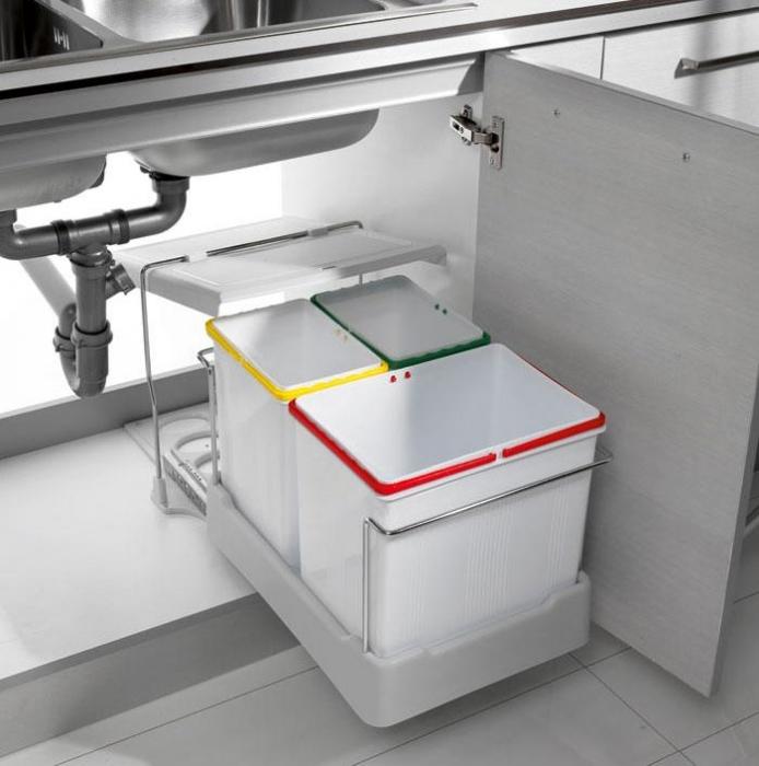 Cos de gunoi Oxa incorporabil in dulap cu 1 compartiment x 16 litri si 2x 7,5 litri 0