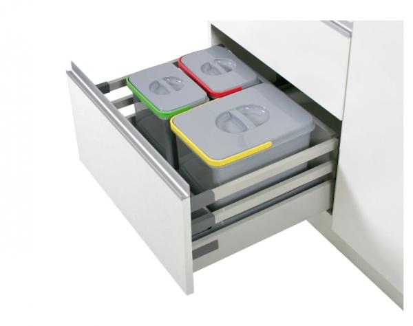 Cos de gunoi Praktico incorporabil in sertar, cu 3 recipiente, pentru corp de 600 mm latime H:300mm 1