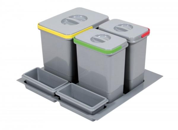Cos de gunoi Praktico incorporabil in sertar, cu 3 recipiente, pentru corp de 600 mm latime H:300mm 0