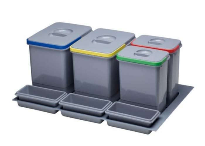 Cos de gunoi Praktico incorporabil in sertar, cu 4 recipiente, pentru corp de 800 mm latime 0