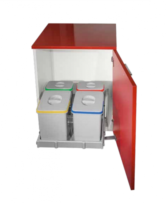 Cos de gunoi incorporabil, Smart Automatic, colectare selectiva cu 2 recipiente x 15 litri si 2 x 7 litri 0