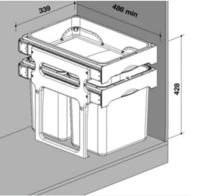Cos de gunoi incorporabil Tank, colectare selectiva, cu 2 recipiente 2 x 16 litri si tavita multifunctionala 1