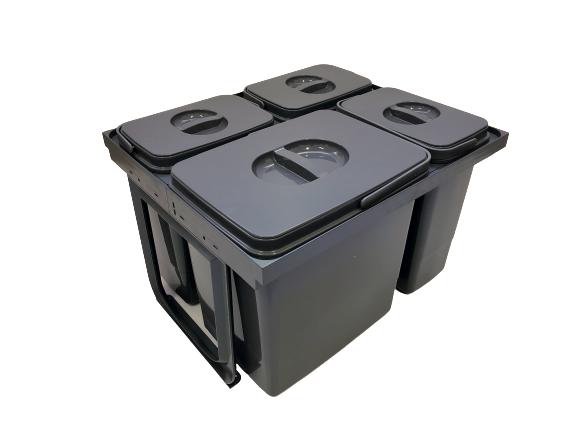 Cos de gunoi Jazz 45 incorporabil, colectare selectiva, 1 compartiment x15 litri si 3x7 litri, H300 mm 0