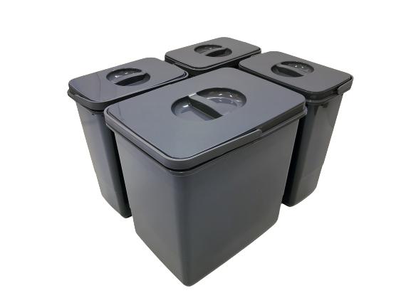 Cos de gunoi Jazz 45 incorporabil, colectare selectiva, 1 compartiment x15 litri si 3x7 litri, H300 mm 2