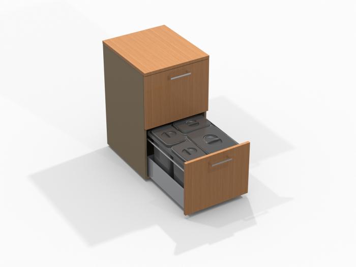 Cos de gunoi Jazz 45 incorporabil, colectare selectiva, 1 compartiment x15 litri si 3x7 litri, H300 mm 3