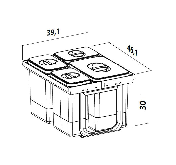 Cos de gunoi Jazz 45 incorporabil, colectare selectiva, 1 compartiment x15 litri si 3x7 litri, H300 mm 4