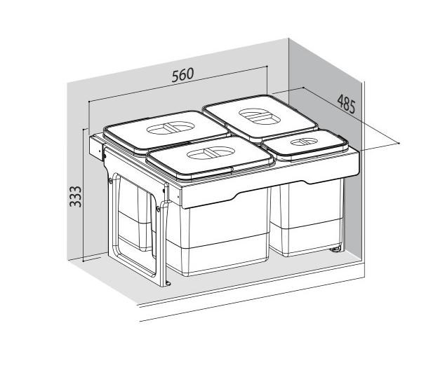 Cos de gunoi Jumbo 60 incorporabil, colectare selectiva, cu 3 compartimente x15 litri si 1x7 litri [1]