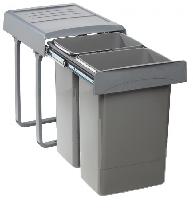 Cos de gunoi  Mega incorporabil, colectare selectiva,  cu 2 compartimente x20 litri 0