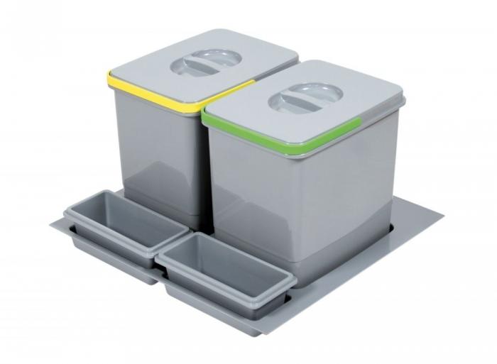 Cos de gunoi Praktico incorporabil in sertar, cu 2 recipiente, pentru corp de 600 mm latime H:230 mm 0