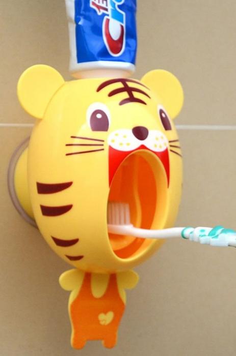 Dozator, dispenser pasta de dinti pentru copii model tigru montabil pe perete 1