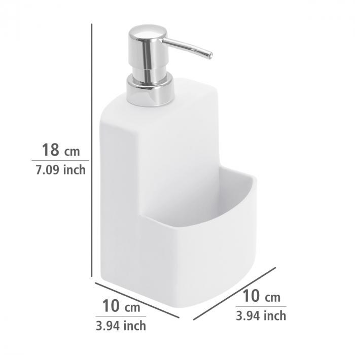 Dispenser sapun lichid cu suport burete, alb festival 1