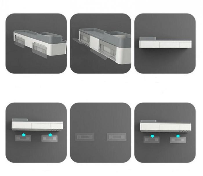 Dozator, dispenser pasta de dinți cu suport multifunctional magnetic pentru 2 pahare, 4 periute si suport telefon mobil de culoare gri cu alb 3