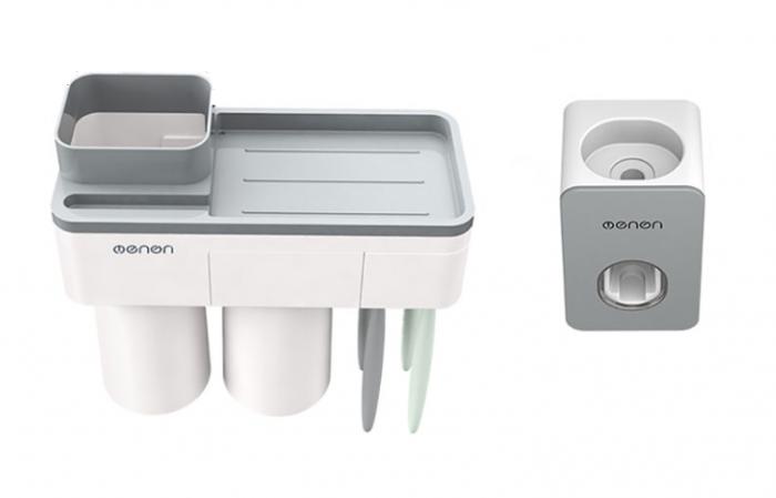 Dozator, dispenser pasta de dinți cu suport multifunctional magnetic pentru 2 pahare, 4 periute si suport telefon mobil de culoare gri cu alb 0