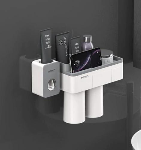 Dozator, dispenser pasta de dinți cu suport multifunctional magnetic pentru 2 pahare, 4 periute si suport telefon mobil de culoare gri cu alb 2